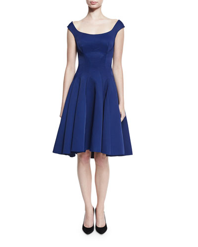 Ribbed Sleeveless Fit-&-Flare Cocktail Dress, Navy