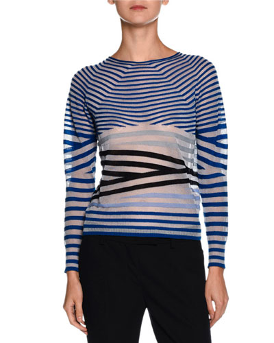 Sheer Striped Crewneck Sweater, Blue/Multi
