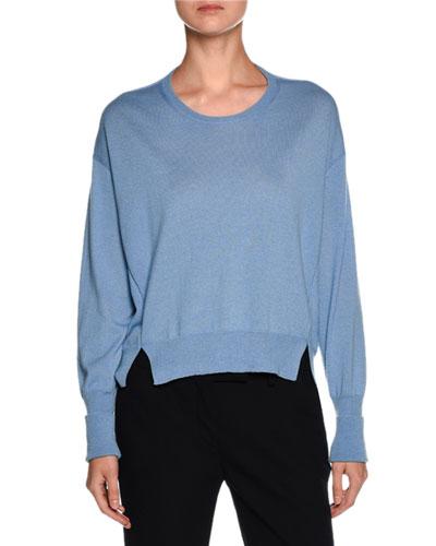 Cashmere Side-Slit Crewneck Sweater, Cornflower Blue