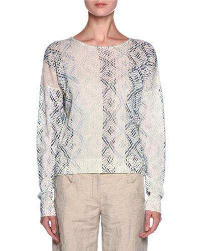 Cashmere Geometric-Print Sweater, Cream/Multi