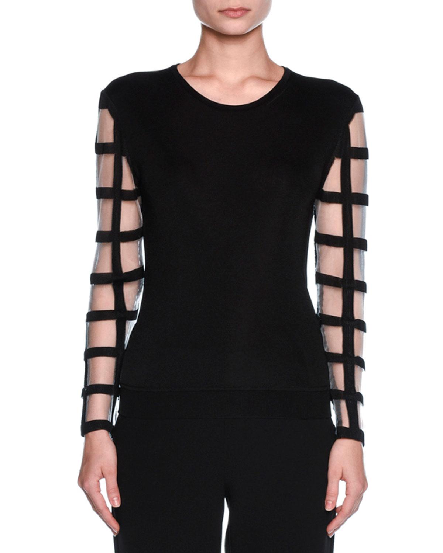 Windowpane-Sleeve Knit Sweater, Black