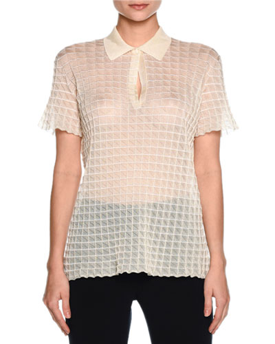 Sheer Windowpane Polo Shirt, Ivory