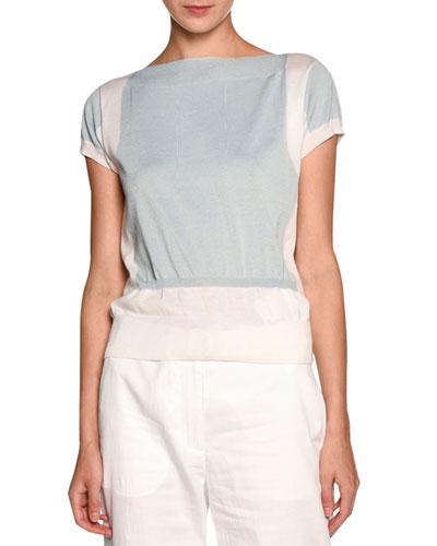 Bicolor Short-Sleeve Sweater, Light Blue/White