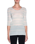 Striped 3/4-Sleeve Scoop-Neck Sweater, Light Blue/White