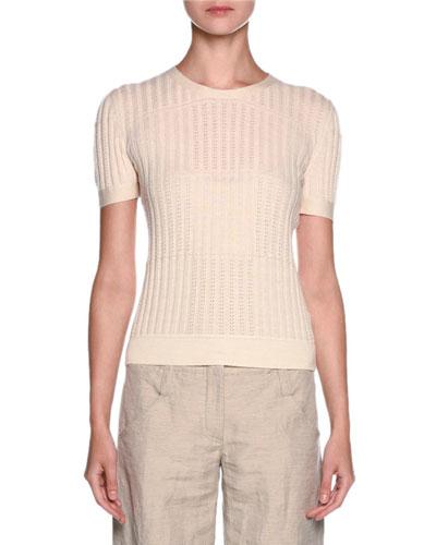 Short-Sleeve Pointelle Cashmere Tee, Ivory