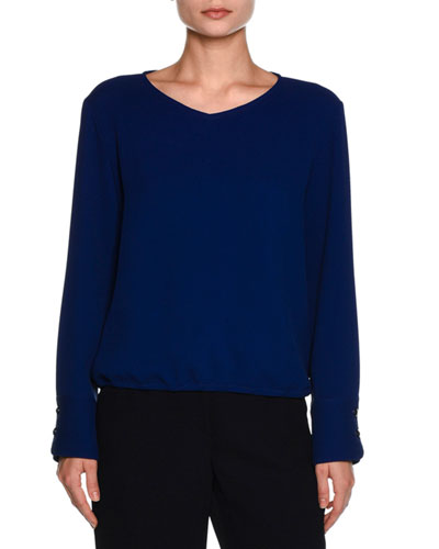 V-Neck Button-Cuff Blouse, Royal Blue