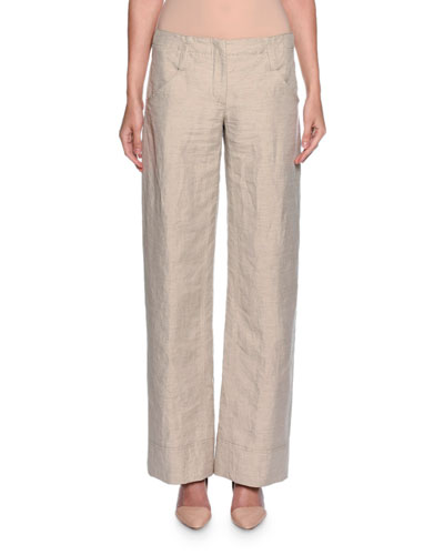 Relaxed Logo-Pocket Pants, Beige