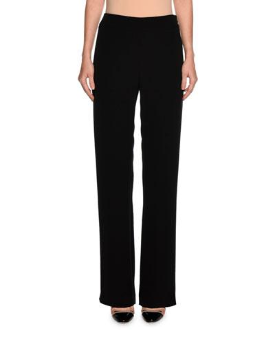 Wide-Leg Silk Pants, Black