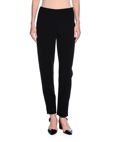 Zip-Cuff Narrow-Leg Pants, Black