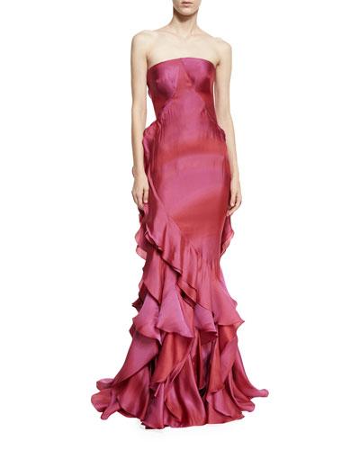 Strapless Ruffled Mermaid Gown, Raspberry