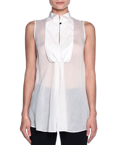 Sleeveless Bib-Front Tuxedo Blouse, White