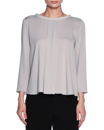 Bracelet-Sleeve Rolled-Collar Blouse, Light Gray