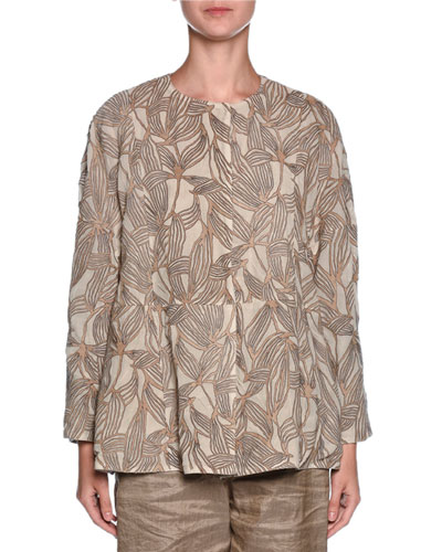 Laser-Cut Suede & Georgette Jacket, Beige