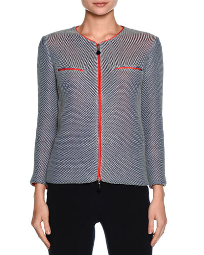 Contrast-Lined Zip Sweater Jacket, Multi