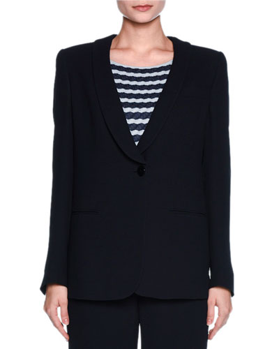 One-Button Stretch-Cloqué Jacket, Navy