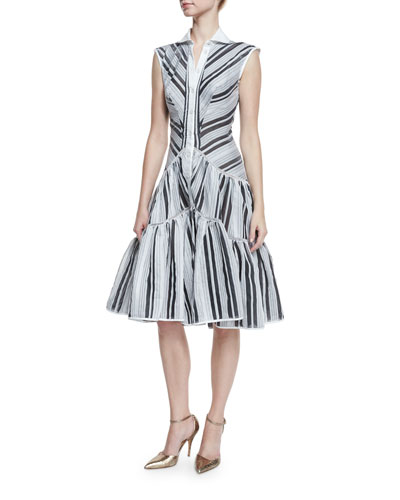 Sleeveless Striped Flounce Shirtdress, Black/White