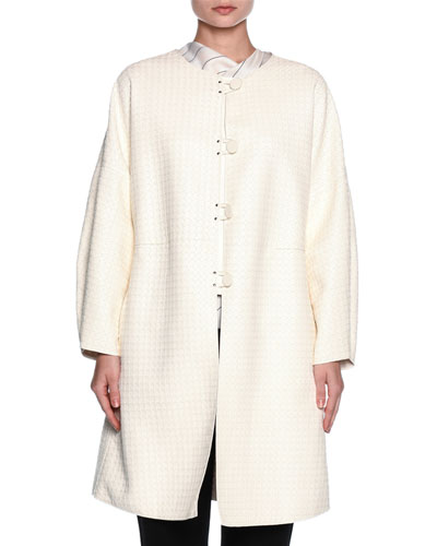 Leather Button-Front Caban Coat, Ivory