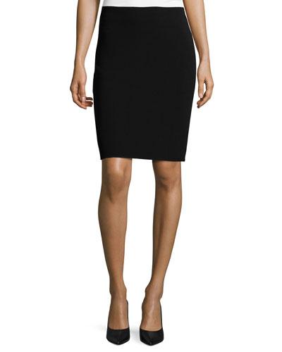 Virgin Wool Pencil Skirt, Black