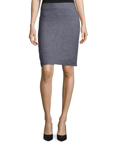 Houndstooth-Print Pencil Skirt, Fantasia