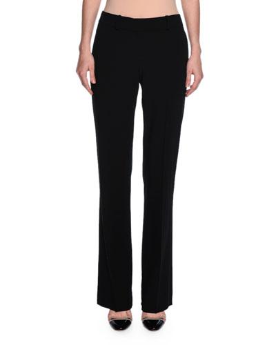 Straight-Leg Wool Pants, Black