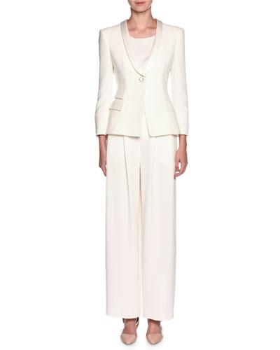 Tuxedo Jacket & Wide-Leg Pant Suit Set, White