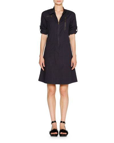 Tab-Sleeve Zip-Front Shirtdress, Blazer Navy