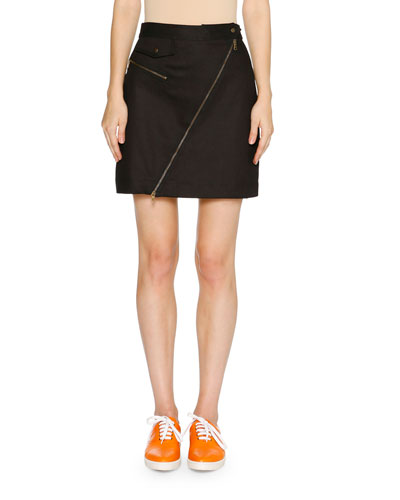 Asymmetric-Zip A-Line Mini Skirt, Dark Navy