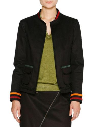 Denim Varsity Jacket w/Stripe Trim, Navy