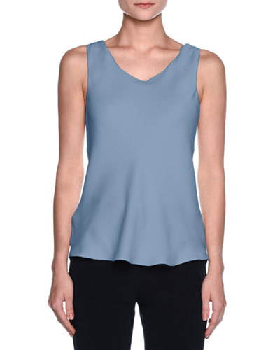 Silk Charmeuse Scoop-Neck Shell, Cornflower Blue