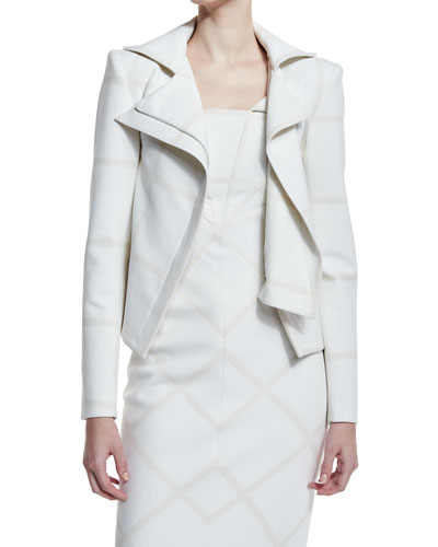 Tonal Plaid Moto Jacket, White/Ivory