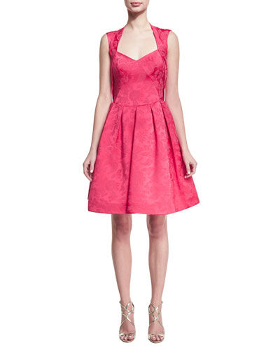 Sleeveless Jacquard Cocktail Party Dress