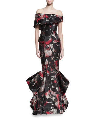 Off-the-Shoulder Printed Mermaid Gown, Multi Cherry Floral
