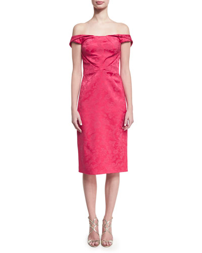 Off-the-Shoulder Floral Jacquard Cocktail Dress, Fuchsia