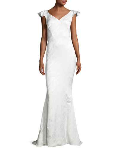 Tonal-Jacquard V-Neck Gown, White