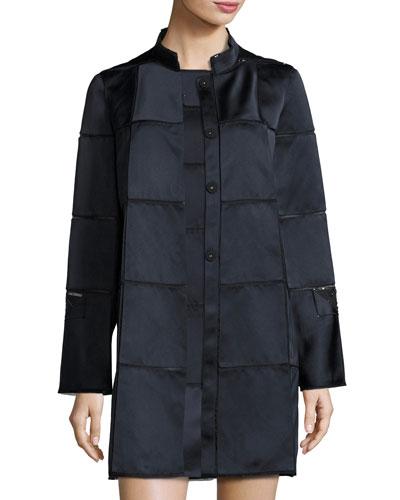 Windowpane Stand-Collar Coat, Midnight/Black