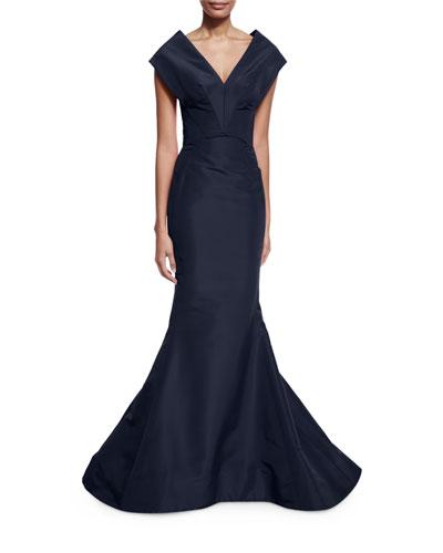 Silk V-Neck Mermaid Gown, Navy