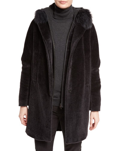 Rowlands Fox-Collar Long Coat, Caviar Black