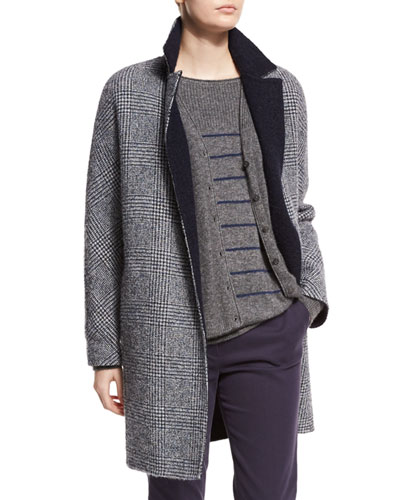 Ramsey Plaid Boucle Coat, Bluestone Galles