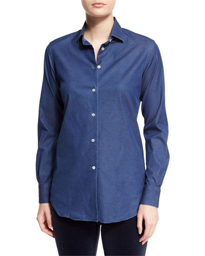 Kara Denim Button-Front Blouse, Insignia Blue