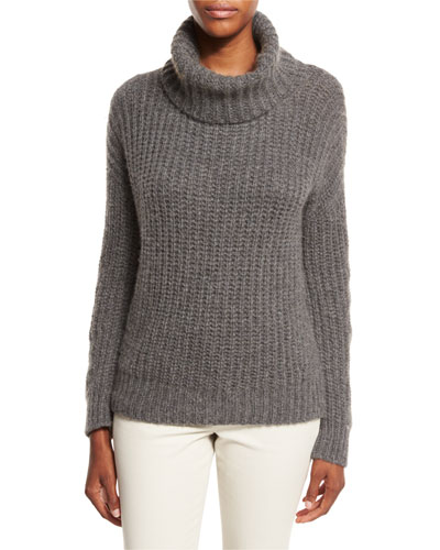 Davenport Cashmere Turtleneck Sweater, Dark Gray