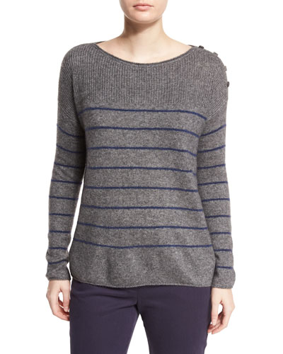 Striped Shepherd Bay Sweater, Gray Melange