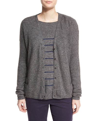 Shepherd Bay Knit Cardigan, Gray Melange
