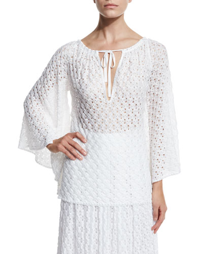 Lace-Knit Bell-Sleeve Blouse, White