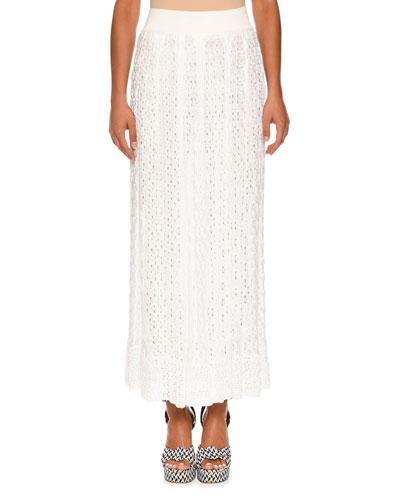 Elastic-Waist Lace-Knit Maxi Skirt, White