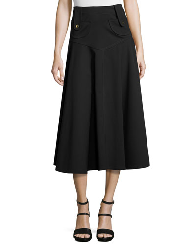 Button-Tab Flared Midi Skirt, Black