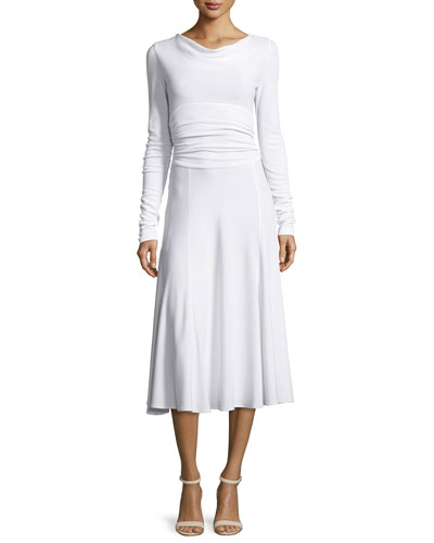 Long-Sleeve Cowl-Neck Cummerbund-Waist Dress, White