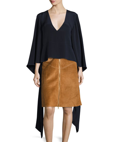 V-Neck Blouson Tie-Sleeve Blouse, Navy