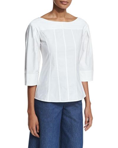 3/4-Sleeve Boat-Neck Tunic, White