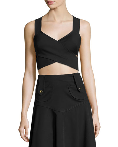 Crisscross Cropped Sleeveless Top, Black