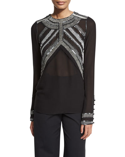 Embroidered-Yoke Long-Sleeve Blouse, Black